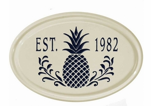 Whitehall Pineapple Ceramic Oval - One Line Petite Wall Plaque - Black