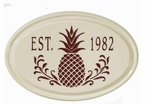 Whitehall Pineapple Ceramic Oval - One Line Petite Wall Plaque