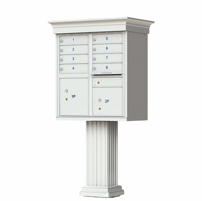 Postal Grey Cluster Box Unit with Crown Cap and Pillar Pedestal accessories - 8 compartment