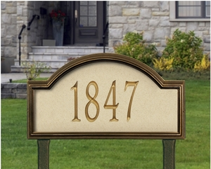 Whitehall Providence Artisan Stone Estate Lawn Address Sign - One Line