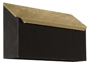 Provincial Collection Brass Mailboxes (horizontal) in Hammered Black with Hammered Polished Brass Door