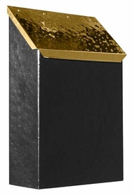 Provincial Collection Brass Mailboxes (vertical) in Hammered Black with Hammered Polished Brass Door