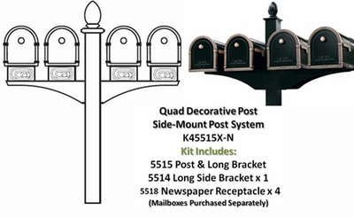 Quadruple Decorative Post System with Newspaper Receptacles (Mailboxes Purchased Separately)