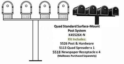 Quad Standard Surface Mount Post System with Newspaper Receptacles (Mailboxes Purchased Separately)