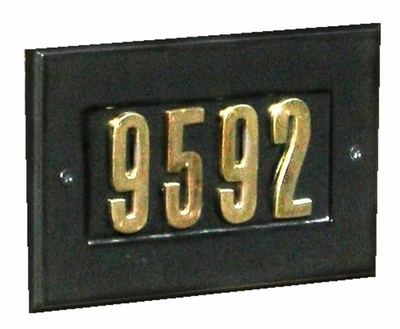 "Manchester Address Plate w/ 3"" BLACK Brass Numbers (numbers included)"