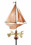 Racing Sloop Weathervane - Polished Copper