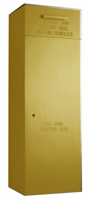 """Rear Loading, Fully Recessed, Powdercoat Gold 36"""" High Mail Collection Drop Box"""