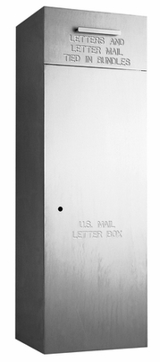 "Rear Loading, Fully Recessed, Brushed Aluminum 60"" High Mail Collection Drop Box"