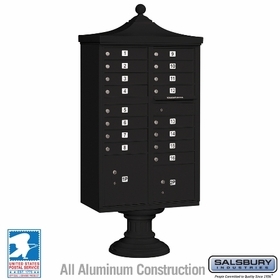 Salsbury 3316R-BLK-U 16 Door Regency Decorative Cluster Mailbox Black