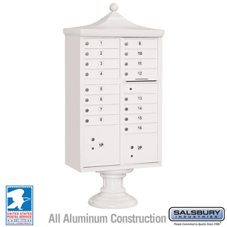 Salsbury 3316R-WHT-U 16 Door Regency Decorative Cluster Mailbox White