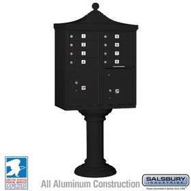 Salsbury 3308R-BLK-U 8 Door Regency Decorative Cluster Mailbox Black