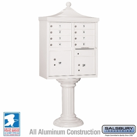 Salsbury 3308R-WHT-U 8 Door Regency Decorative Cluster Mailbox White