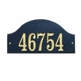 "Ridgecrest Arch ""Black Polished Stone Color"" Solid Granite Address Plaque"