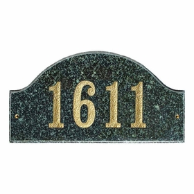 "Ridgecrest Arch ""Emerald Green Polished Stone Color"" Solid Granite Address Plaque"