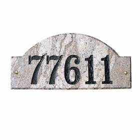 "Ridgecrest Arch ""Five Color Natural Stone Color"" Solid Granite Address Plaque"