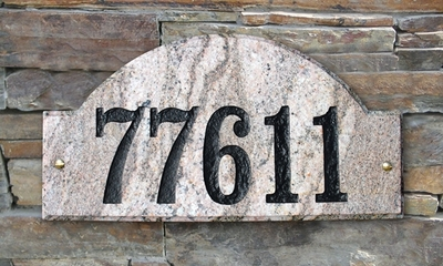 Ridgecrest Arch Solid Granite Address Plaque with Engraved Text - Five Color Stone