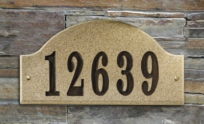 Ridgecrest Arch Solid Granite Address Plaque with Engraved Text - Sand Natural Stone Color