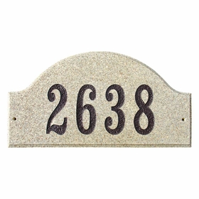 "Ridgecrest Arch ""Sand Granite Polished Stone Color"" Solid Granite Address Plaque"