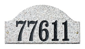 "Ridgecrest Arch ""Slate Stone Color"" Solid Granite Address Plaque"