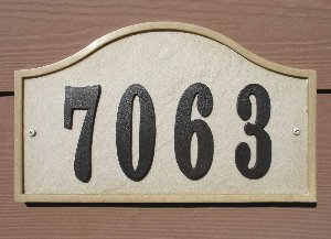 Ridgestone address plaque system, Serpentine, Sandstone