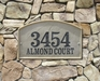 "Riviera Arch (15"" x 9"") Crushed Stone Address Plaque"