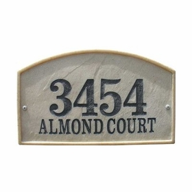 Riviera Arch Crushed Stone Address Plaque in Slate Color