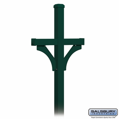 Salsbury 4372GRN Deluxe Post 2 Sided In Ground Mounted For Roadside Mailbox Green