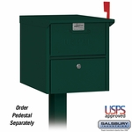Salsbury 4325GRN Roadside Mailbox Front And Rear Access Green