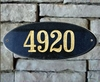 Rockport Oval Solid Granite Address Plaque With Engraved Text - Black
