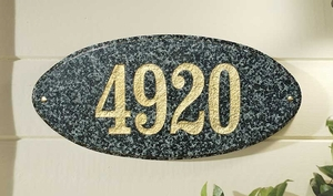 Rockport (oval) in Emerald granite plaque w/Engraved Text