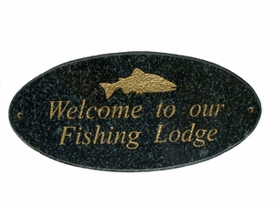 Rockport Oval LOGO Plaque (Includes Engraved Logo & One Line of Text) - Emerald Green Polished Stone Color