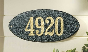 "Rockport Oval in ""Emerald Green Polished Stone Color"" Solid Granite Address Plaque"