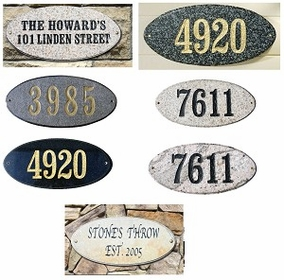 "Rockport Oval in ""Slate Stone Color"" Solid Granite Address Plaque"