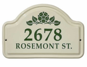Whitehall Rosette Ceramic Arch - Two Line Standard Wall Plaque