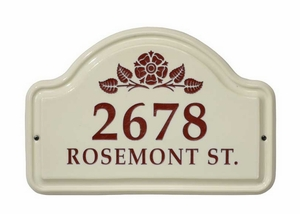 Whitehall Rosette Ceramic Arch - Two Line Standard Wall Plaque - Red