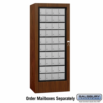 Salsbury 3100WAU Rotary Mail Center Aluminum Style Walnut (Mailboxes Sold Separately)