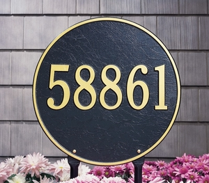 "Whitehall Round 15"" Diameter One Line Lawn Address Sign"