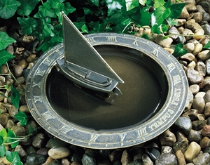 Whitehall Sailboat Sundial Birdbath - French Bronze