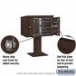 Salsbury 3405D-03BRZ 3 Door 4C Pedestal Mailbox - Bronze with Parcel Locker