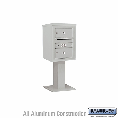 Salsbury 3406S-02GRY 4C Pedestal Mailboxes 2 Tenant Doors