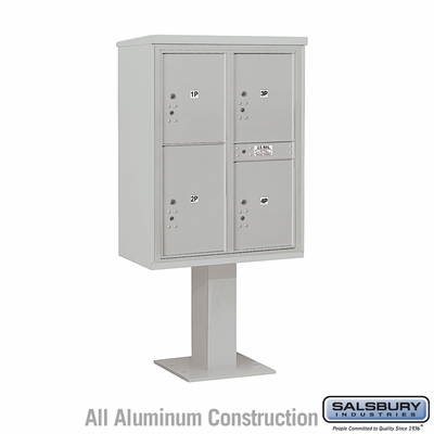 Salsbury 3411D-4PGRY 4C Pedestal Mailboxes 4 Parcel Lockers