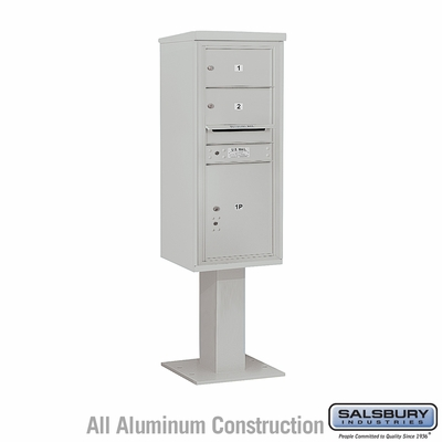 Salsbury 3411S-02GRY 4C Pedestal Mailboxes 2 Tenant Doors