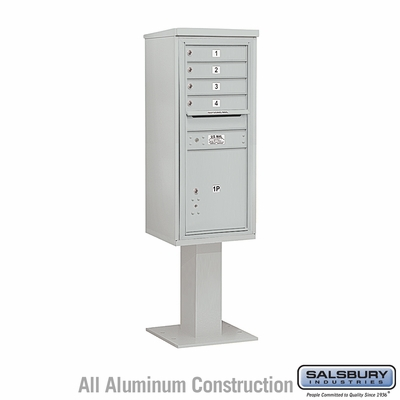 Salsbury 3411S-04GRY 4C Pedestal Mailboxes 4 Tenant Doors