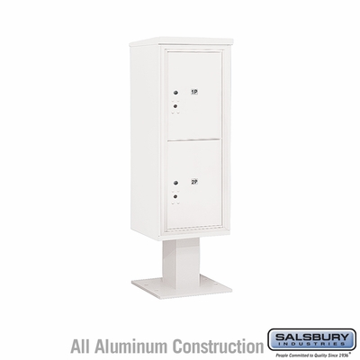 Salsbury 3412S-2PWHT 4C Pedestal Mailboxes 2 Parcel Lockers