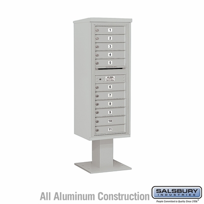 Salsbury 3413S-11GRY 4C Pedestal Mailboxes 11 Tenant Doors