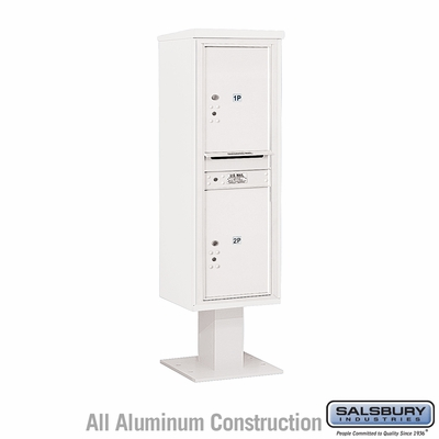 Salsbury 3414S-2PWHT 4C Pedestal Mailboxes 2 Parcel Lockers