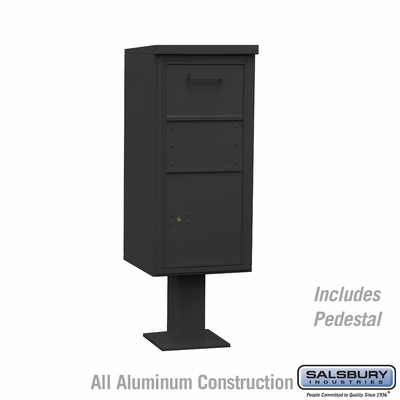 Salsbury 3450BLK Pedestal Collection Box (Includes Pedestal and Lock) - Regular - Black