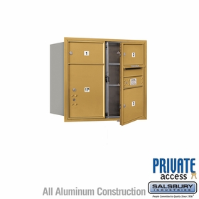 Salsbury 3707D-03GFP 4C Mailboxes 3 Tenant Doors Front Loading
