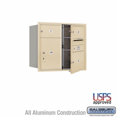 Salsbury 3707D-03SFU 4C Mailboxes 3 Tenant Doors Front Loading