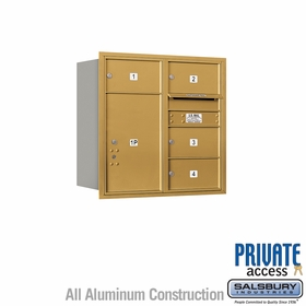 Salsbury 3708D-04GRP 4C Mailboxes 4 Tenant Doors Rear Loading